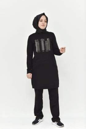 TESETTÜR EŞOFMAN TAKIMI  SİYAH BW8352S