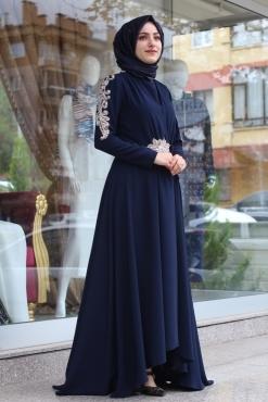 SENNA MARGUERİTE ELBİSE LACİVERT